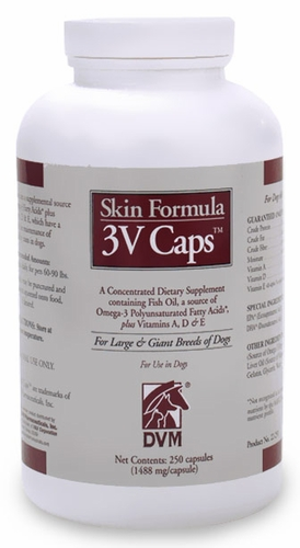 3v caps skin formula for large giant breeds 250 caps for Fish oil for dogs dosage