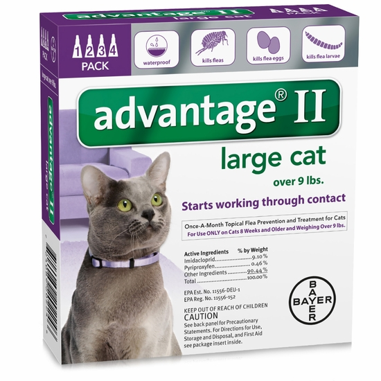 4 MONTH Advantage II Flea Control Large Cat (for Cats over 9 lbs.)