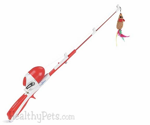 Bamboo play catfisher rod reel cat toy for Cat fishing pole