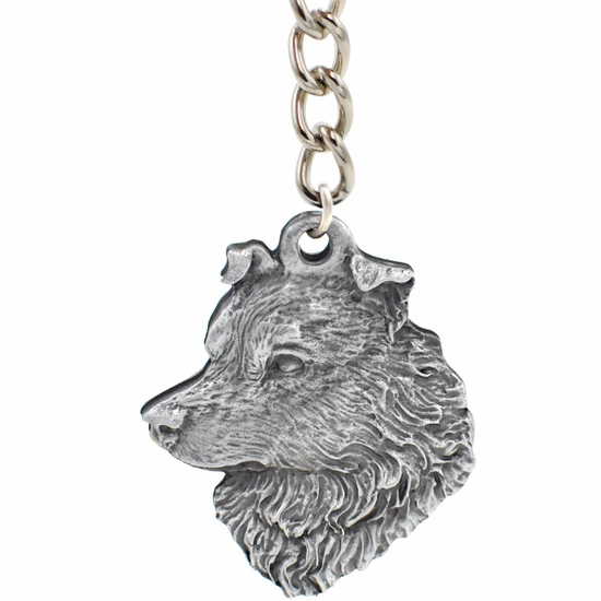 "Dog Breed Keychain USA Pewter - Australian Shephard (2.5"")"