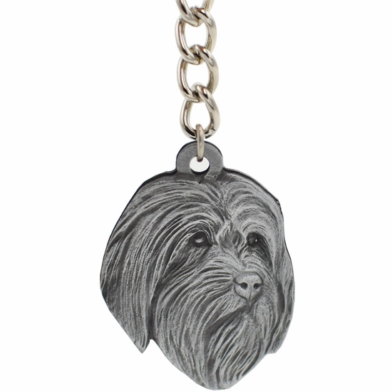 "Dog Breed Keychain USA Pewter - Bearded Collie (2.5"")"