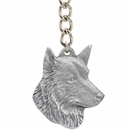 "Dog Breed Keychain USA Pewter - Belgian Sheepdog (2.5"")"