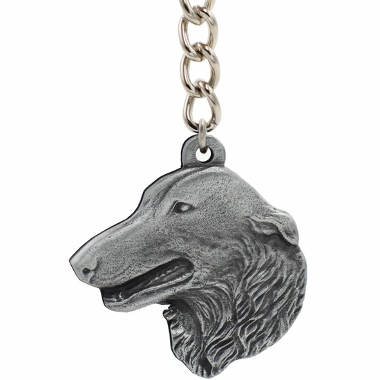 "Dog Breed Keychain USA Pewter - Borzoi (2.5"")"