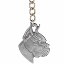 "Dog Breed Keychain USA Pewter - Boxer (2.5"")"