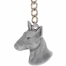 "Dog Breed Keychain USA Pewter - Bull Terrier (2.5"")"