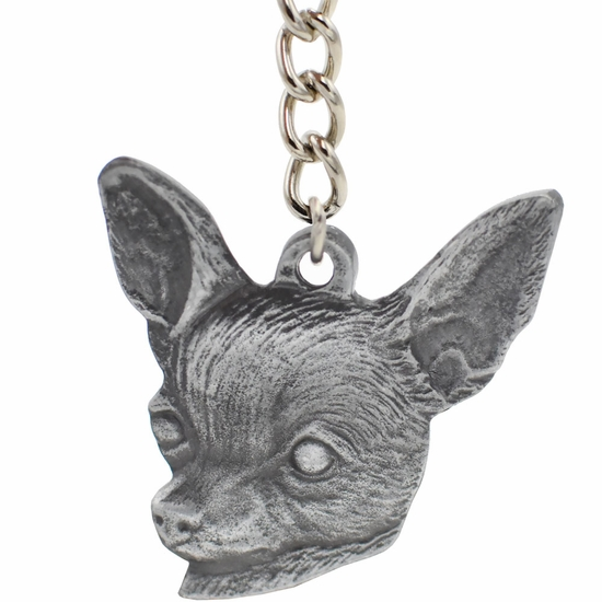 "Dog Breed Keychain USA Pewter - Chihuahua (2.5"")"