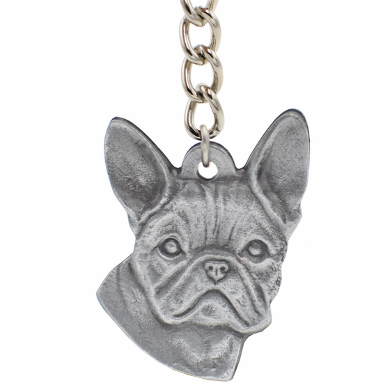 "Dog Breed Keychain USA Pewter - French Bulldog (2.5"")"