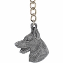 "Dog Breed Keychain USA Pewter - German Shepherd (2.5"")"