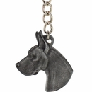 "Dog Breed Keychain USA Pewter - Great Dane (2.5"")"