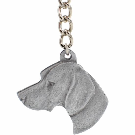 "Dog Breed Keychain USA Pewter - Pointer (2.5"")"