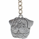 "Dog Breed Keychain USA Pewter - Pug (2.5"")"