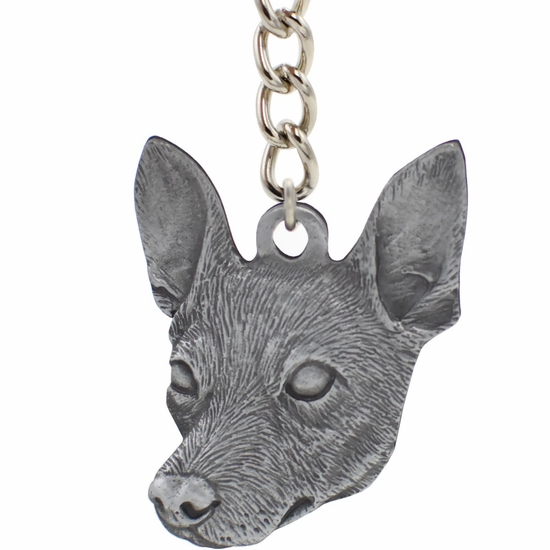 """Dog Breed Keychain USA Pewter - Rat Terrier (2.5"""")"""
