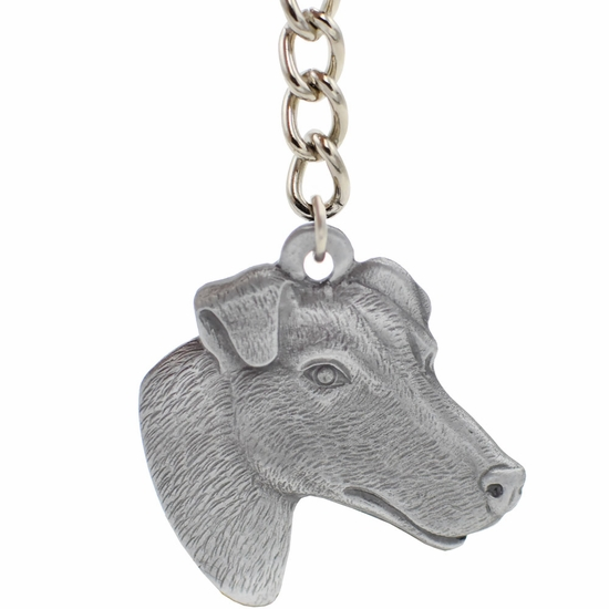 """Dog Breed Keychain USA Pewter - Smooth Haired Fox Terrier (2.5"""")"""