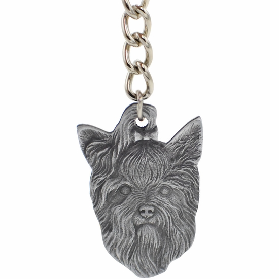"Dog Breed Keychain USA Pewter - Yorkshire Terrier (2.5"")"