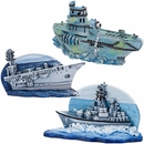 Navy Carrier & Sub Aquarium Ornament Set