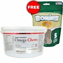 Omega Chews for Medium & Large Dogs (150 Soft Chews) + FREE BONIES Skin & Coat Health Multi-Pack LARGE (5 Bones)
