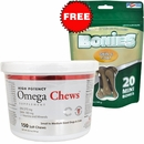 Omega Chews for Small to Medium Sized Dogs & Cats (150 Soft Chews) + FREE BONIES Skin & Coat Health Multi-Pack MINI (20 Bones)