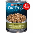 Purina Pro Plan Focus - Turkey & Rice Entrée Canned Weight Management Adult Dog Food (12x13oz)