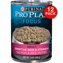 Purina Pro Plan Select - Sensitive Skin & Stomach Salmon & Rice Entrée Canned Adult Dog Food (12x13 oz)