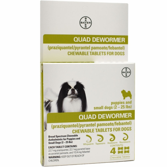 Quad Dewormer for Puppies & Small Dogs (2-25 lbs) - 4 Chewable Tablets