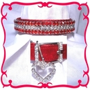 Rhinestone Dog Collars - Red Velvet & Diamonds # 304 (Small)