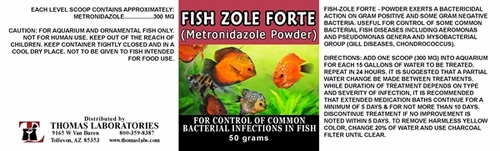 Thomas labs fish zole forte 500mg metronidazole powder for Thomas labs fish mox forte