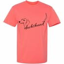 Women's T-Shirt - Dachshund Handwritten - Small (Coral Silk)