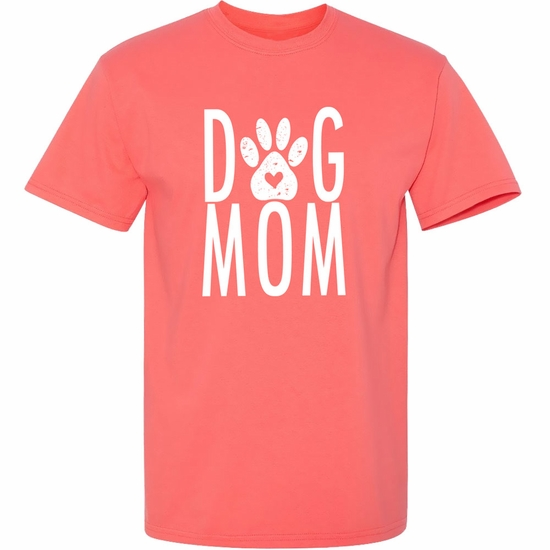 Women's T-Shirt - Dog Mom - Large (Coral Silk)