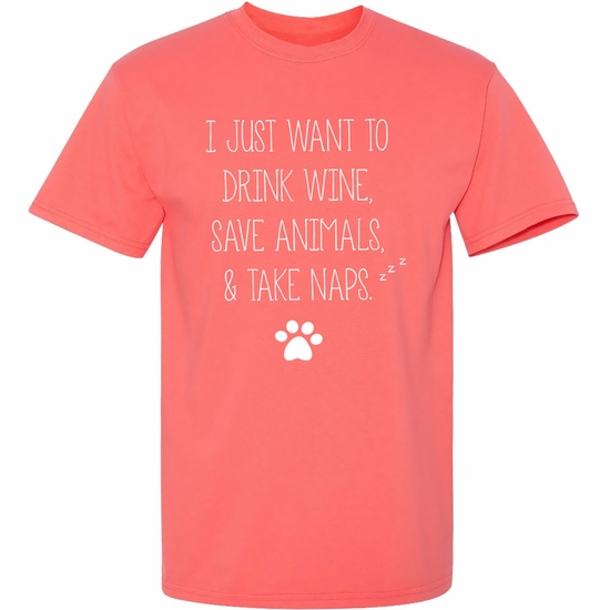 Women's T-Shirt - Drink, Save, and Nap - Small (Coral Silk)