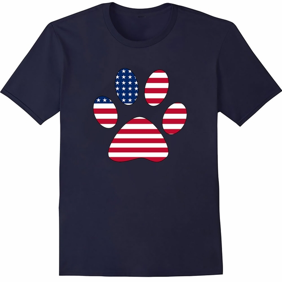 Women's T-Shirt - Patriotic Paw Print - Small (Navy)