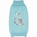 Zack & Zoey Elements Shimmer Owl Sweater - Blue (Large)