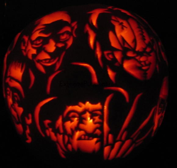 extreme pumpkin carving templates - a bunch of scary dudes