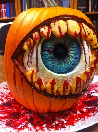Bloody Eyeball Pumpkin With Teeth