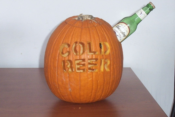 Cold beer pumpkin Pumpkin carving beer