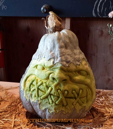 Sewn Up Mouth Hubbard Squash Carving