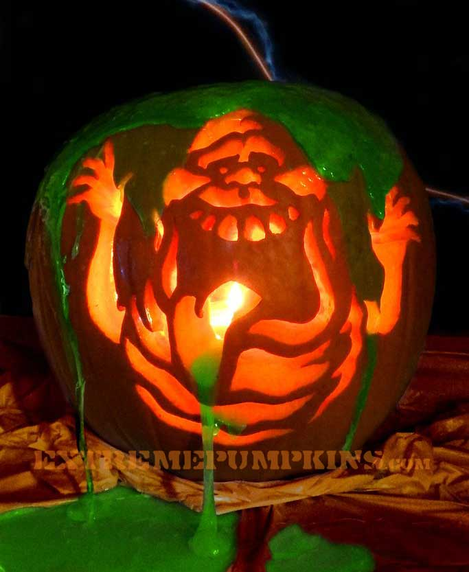 Slimer from ghostbusters pumpkin