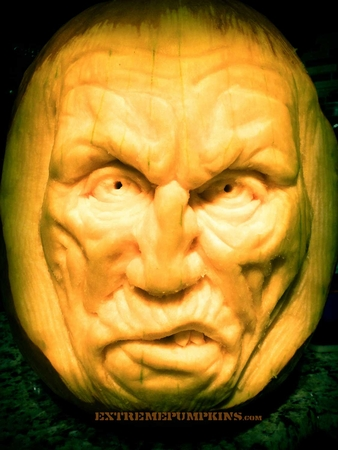 The Angry Guy Pumpkin Sculpture