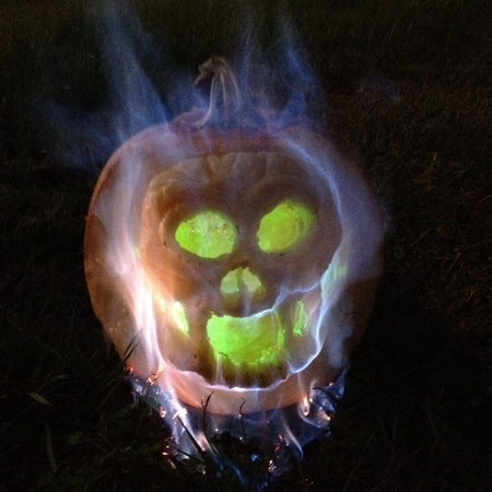The Skull On Fire Pumpkin