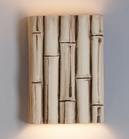 "10"" Fat Bamboo Reed Wall Sconce - Authentic Finish"