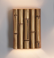 "10"" Fat Bamboo Reed Wall Sconce - Gold Finish"