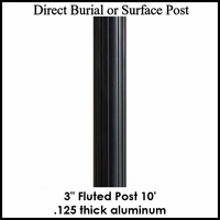 10' Fluted Aluminum Post, powder coated black