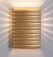 "10"" Horizontal Ribbed Steel Wall Sconce - Metallic Gold Finish"