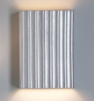 "10"" Silver Steel Corrugated Wall Sconce - Vertical Pattern"