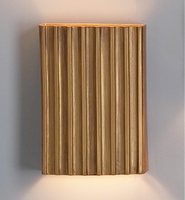 "10"" Steel Corrugated Wall Sconce - Vertical Pattern - Gold"