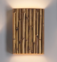 "10"" Thin Bamboo Reed Wall Sconce - Gold  Finish"