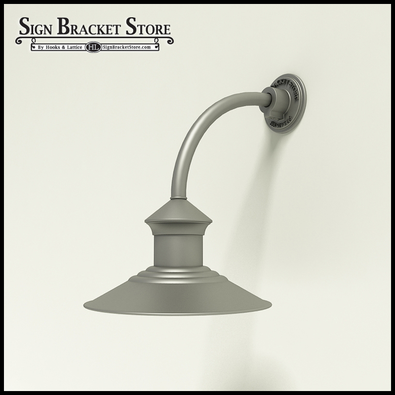 12u0026quot; Barn Light Shade w/ Gooseneck Arm Extension - 10u0026quot; x 3/4u0026quot; Dia. Arm
