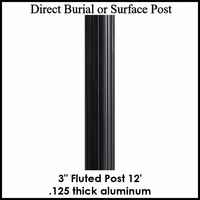 12' Fluted Aluminum Post, powder coated black