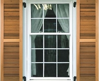 "12"" Wide - 2 Equal Panel Cedar Louvered Exterior Shutters"