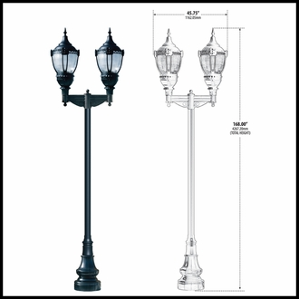 120v High Output HID Vintage Look Dark Sky Lamp Post with Clear Lens Dual Lamps and Decorative Base