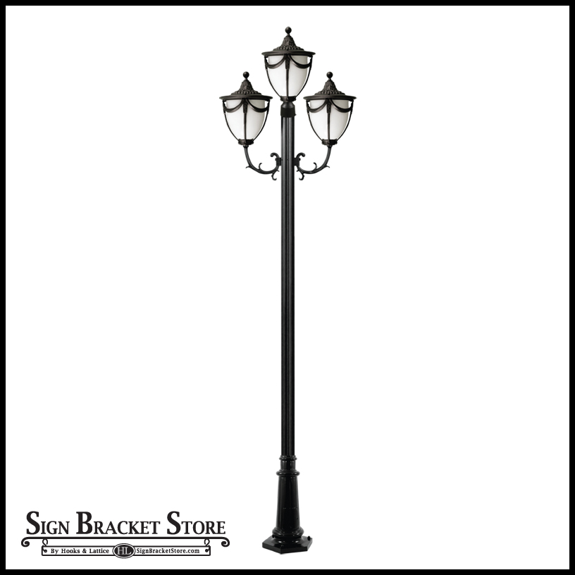 residential street lighting with 3 lamps curb appeal